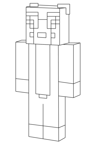 Minecraft Smiling Steve Coloring Page Stampylongnose