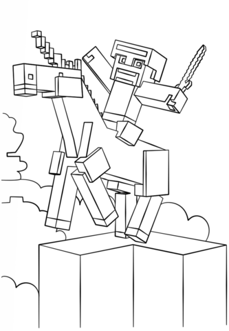 Creeper From Minecraft Coloring Page Unicorn