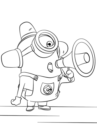 Minion Stuart with Guitar coloring page - Free Printable Coloring Pages