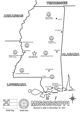 Mississippi Map coloring page