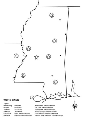Mississippi Map Worksheet coloring page