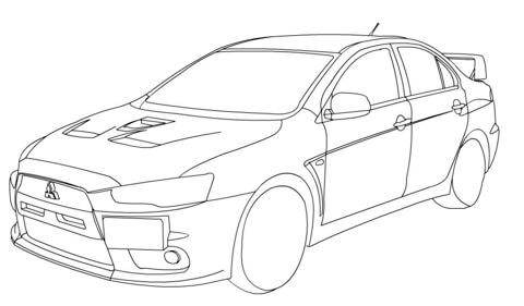 Mitsubishi Lancer Evolution X Coloring Page