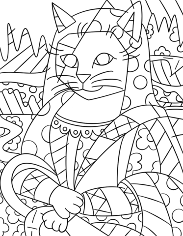 art coloring page. Mona Cat by Romero Britto Coloring page coloring  Free Printable