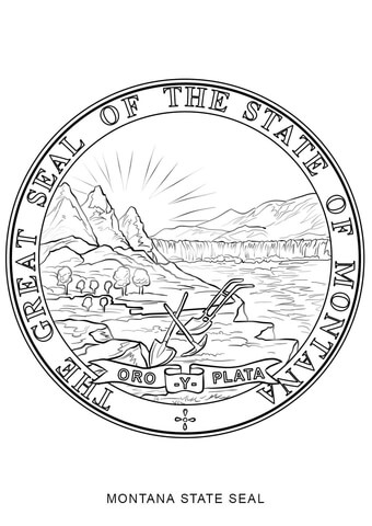 montana state seal coloring page