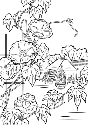 Morning Glory by Hiroshige Coloring page