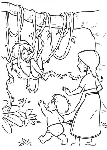 Mowgli With The Indian Family coloring page - Free Printable ...
