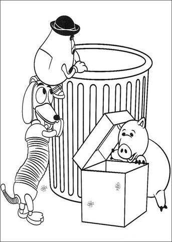Mr Potato Head, Slinky Dog And Hamm  coloring page