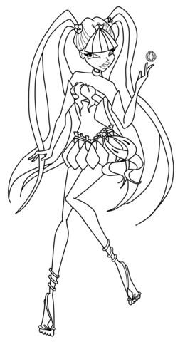 Musa in action coloring page