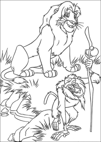 Musafa And Rafiki  coloring page