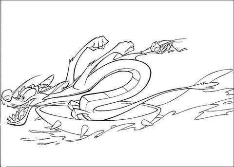 Mushu With Mulan\'s Sword coloring page - Free Printable Coloring Pages