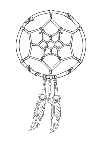 American Indians Coloring Page Native Dreamcatcher