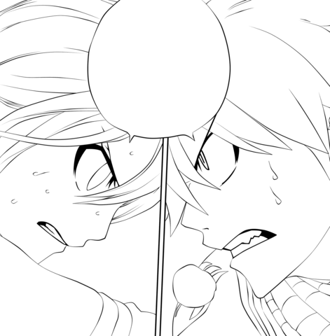 Natsu Dragneel and Lucy Heartfilia from Fairy Tail Manga coloring page