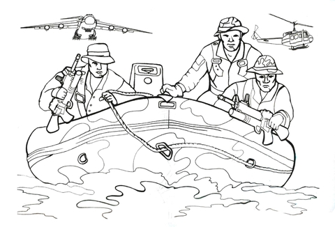 Navy SEALs soldiers in Inflatable boat coloring page - Free ...