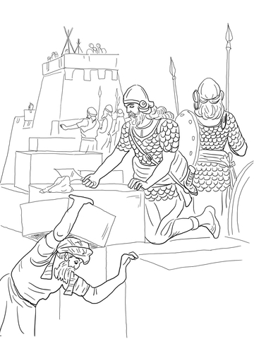 Nehemiah Builds the Walls and Tower of Jerusalem coloring page
