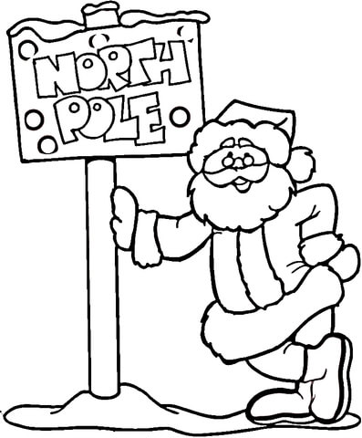 North Pole And Santa  coloring page