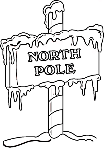 North Pole Sign  coloring page
