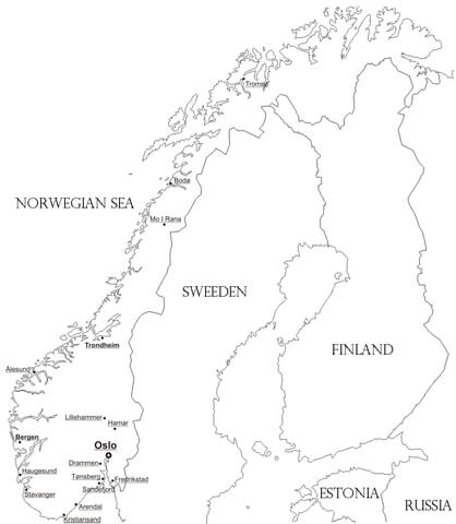 Norway Map coloring page