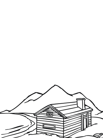 Norwegian Traditional House coloring page