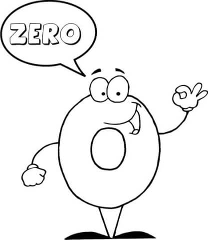 Number 0 Says ZERO coloring page
