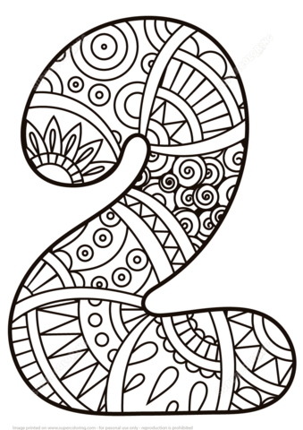 Number 2 Zentangle coloring page - Free Printable Coloring Pages