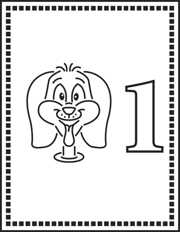 Number 1 Or One Dog coloring page