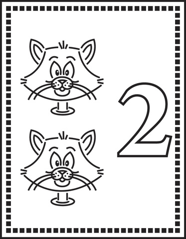 Number 2 Or Two Cats coloring page