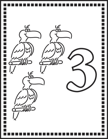 Number 3 Or Three Parrots coloring page