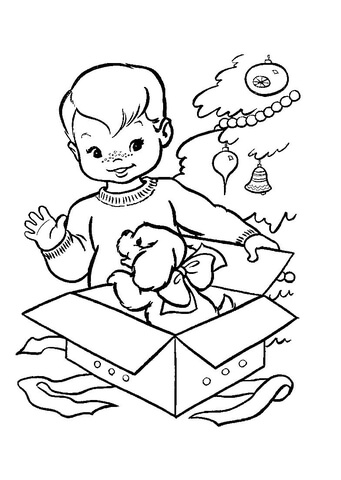 Nice Christmas gift for a little boy coloring page