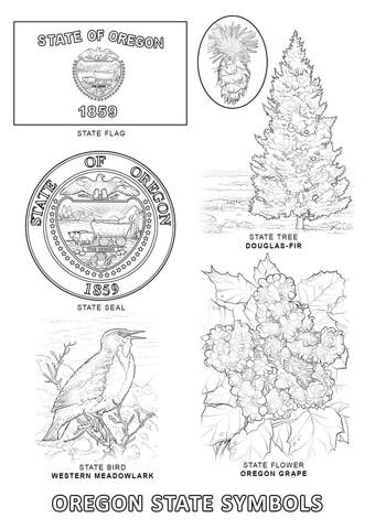 Oregon State Symbols coloring page