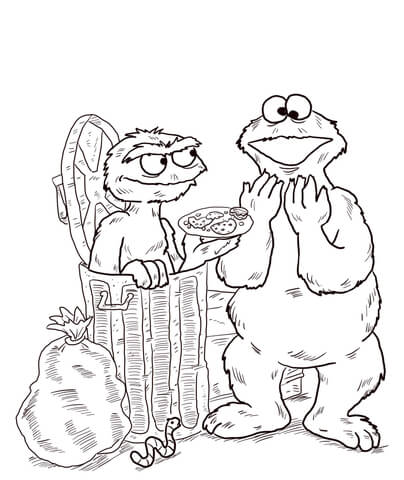 Oscar and Cookie Monster coloring page - Free Printable Coloring Pages