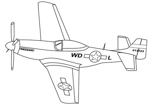 P-51 Mustang coloring page