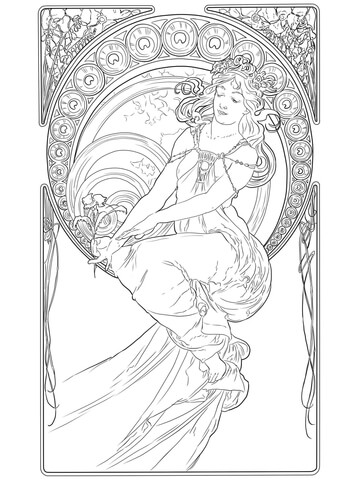 Painting by Alphonse Mucha coloring