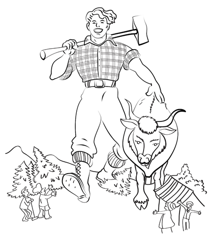 Paul Bunyan and Babe the Blue Ox coloring page