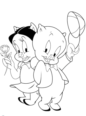 Petunia and Porky coloring page