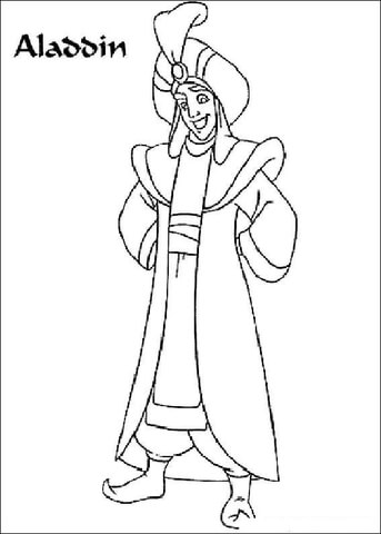 Aladdin With Genie coloring page - Free Printable Coloring Pages