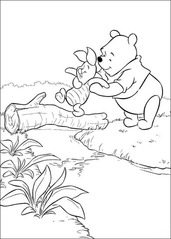 Piglet Crosses The Bridge. Pooh helps him.  coloring page