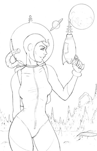 Pin Up Space Girl Coloring Page