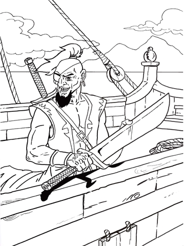 Pirate holding his sword coloring page