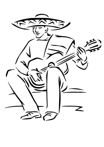 Playing Mexican Guitar coloring page