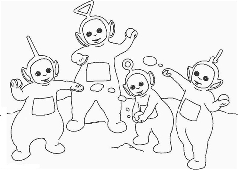 Laa-Laa, Po, Tinky-Winky, Dipsy are playing snowball  coloring page