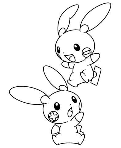 Plusle and Minun coloring page