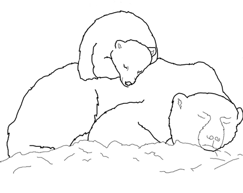 Polar Bear Cub Sleeping on Mother's Back coloring page