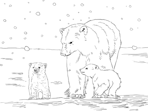 Polar Bear Mother with Two Cubs coloring page