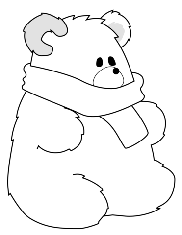 Polar Bear with Scarf coloring page