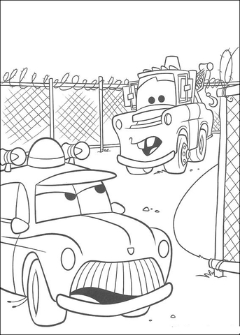 Sheriff and Mater coloring page