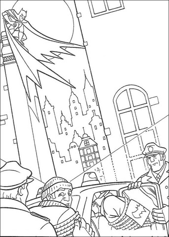 Batman, thieves and police of Gotham coloring page