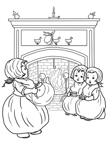 Polly Put the Kettle on Nursery Rhyme coloring page