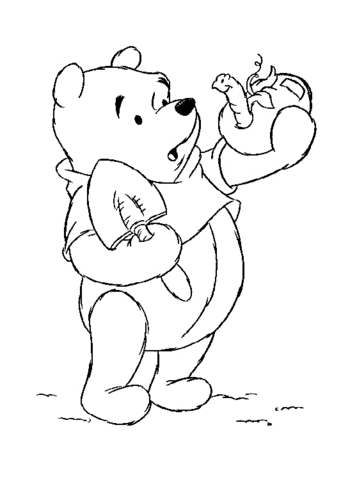 Winnie The Pooh And A Worm Coloring Page Free Printable Coloring Pages