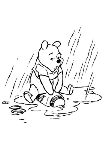 Winnie the Pooh In The Rainy Day  Coloring page
