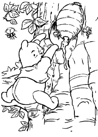Pooh Is Taking Some Honey  coloring page